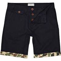 Navy Bellfield camo print rolled up shorts - chino shorts - shorts - men