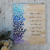 Love Quote on Canvas, Abstract Flower Painting, Abstract Flower Art, Acrylic Flower Painting, Purple Flower Painting, Love Is Like A Garden