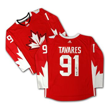 JOHN TAVARES AUTOGRAPHED RED ADIDAS TEAM CANADA 2016 WORLD CUP JERSEY