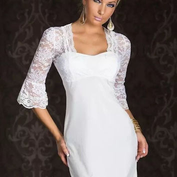 White Floral Lace Splice Half Sleeves Mini Dress #ML399302
