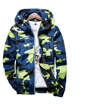 Spring Summer Fashion Mens Brand Clothing 3m Reflective Jacket Casual Camouflage Male Zipper Hooded Bomber Jackets And Coat
