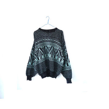 80s vintage heart jumper  . medium  nordic . patterned . oversize sweater . turquoise + grey . hipster. festival