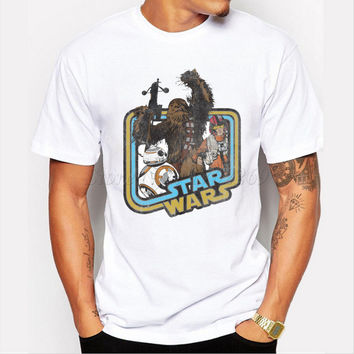 New Arrivals Men's Star War Design Customized T-shirt Chewie's Victory Retro Printed Male Funny Tops Boy's Basic Hispter Tee