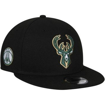 Men's Milwaukee Bucks New Era Black Statement Edition 9FIFTY Snapback Hat