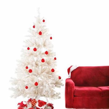 White Red Christmas Tree Backdrop - x068