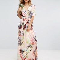 ASOS WEDDING Print Soft Flutter Sleeve Maxi Dress at asos.com