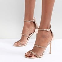 Lipsy Metallic 3 Strap Barely There Shoes at asos.com