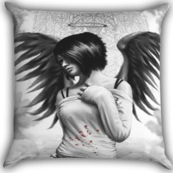 emo angel Zippered Pillows  Covers 16x16, 18x18, 20x20 Inches