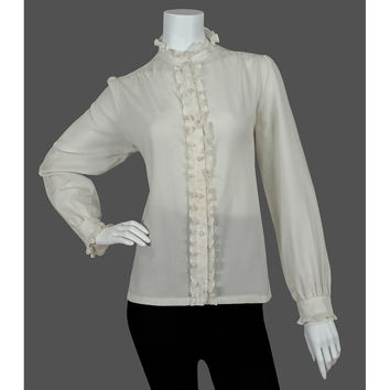 Vintage 1970s Ruffled Blouse, 70s Cream Secretary Blouse, High Collar Button Down, Long Puff Sleeves, Medium Large ML L