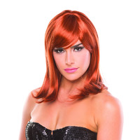 Auburn Red Solid Color Doll Bangs Wig