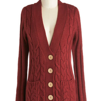 ModCloth Scholastic Mid-length Long Sleeve Your Fireside of the Story Cardigan in Rust