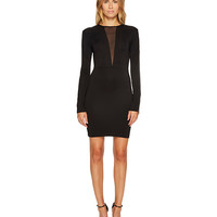 Just Cavalli Jersey V Mesh Long Sleeve Dress