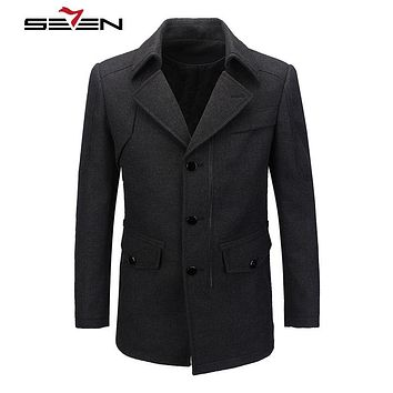 New Winter Woolen Long Pea coat Men Slim Fit Casual Thick Overcoat Men Warm Windbreaker Trench Coat Jacket