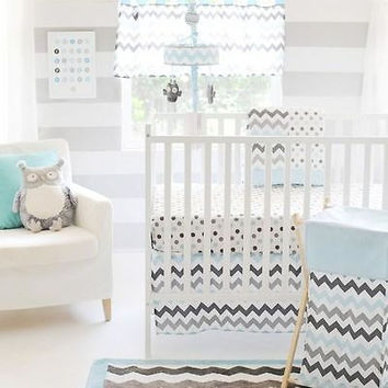 My Baby Sam 5 Piece Nursery Crib Bedding Set Chevron Baby Aqua w Bumper & Mobile