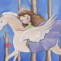 "Winged Horse Girl Art ""Gabriella"" Print"