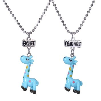 """2PCS/Lot """"Best Friend"""" Cute Blue Giraffe Kid Necklaces 3-D Imitation Necklace For Children Jewelry, Birthday Gift"""