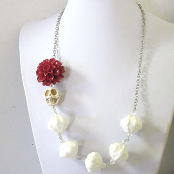 White Sugar Skull Necklace Day Of The Dead Wedding Jewelry Red Chrysanthemum Flower
