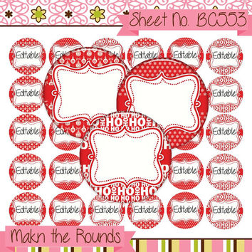 Red Christmas Editable Bottle Cap Image, 1 Inch Circle, Printable Collage, Digital Collage Sheet, Instant Download