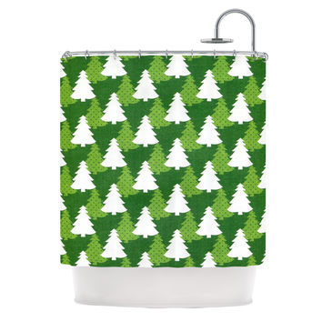 "Heidi Jennnings ""Pine Forest"" Green White Shower Curtain"