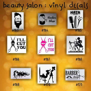 BEAUTY SALON vinyl decals - 163-171 - vinyl stickers - custom car window stickers - car decal - car sticker - beauty shop - spa