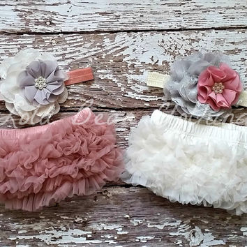 TWINS Twin Baby Girls Dusty Rose Bloomers Ivory Bloomers Gray Flower Headband Set Newborn Photography Prop 0 3 6 9 12 18 months