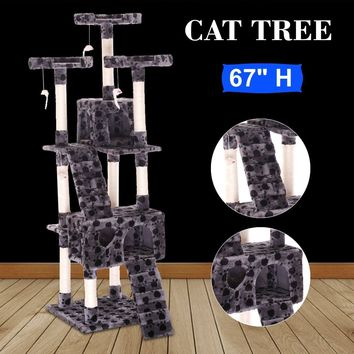 "67"" Cat Tree With Multiple Scratching Posts - Condo Furniture Gray W/ Paws"