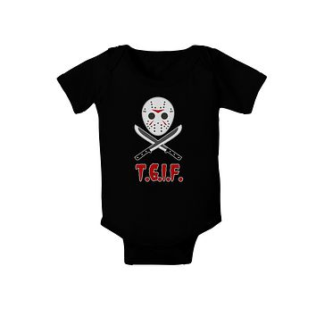 Scary Mask With Machete - TGIF Baby Romper Bodysuit Dark