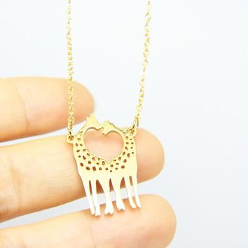 1pc Funny Giraffe Mom And Baby Pendants Necklaces Family Love Stainless Steel Necklace Mom Women Gift Memorial Jewelry