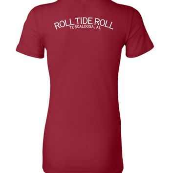 Official NCAA Venley University of Alabama Crimson Tide UA ROLL TIDE! Tuscaloosa Ladies Favorite Tee - 35AL-9