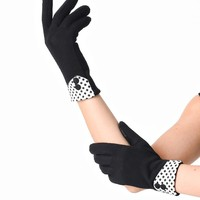 Black Wrist Length Button Gingham Texting Gloves