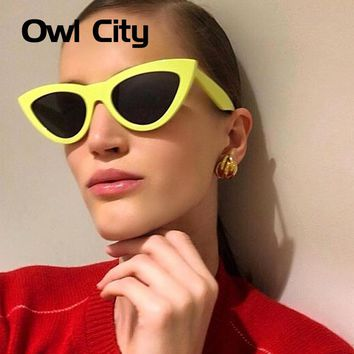 Owl City Cat Eye Sunglasses Women 2018 Vintage Cateye Sun Glasses Brand Designer Shades for Female Retro Women's Festival Adults