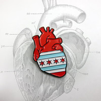 Chicago Flag Anatomical Heart enamel pin