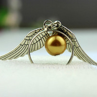 Golden wings ring, harry potter snitch silver ring