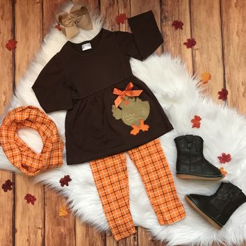 RTS Brown Girly Turkey Applique with Orange Plaid Leggings and Scarf...16.95