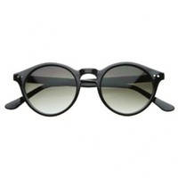 Vintage Inspired Small Round Circle Key Hole Retro P3 Sunglasses with Rivets (Black)