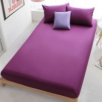 Printed Fitted Sheet Polyester Soft Bed Sheets Solid Color Bedding Linens Comfort Mattress Cover Full Twin Queen Size for Home