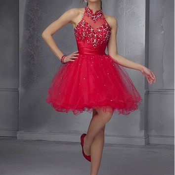 [99.99] Alluring Backless Tulle & Stretch Satin High Collar Short A-line Homecoming Dress - dressilyme.com