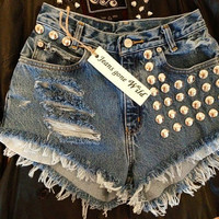 High waist destroyed denim shorts super frayed by jeansgonewild
