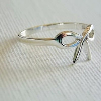 Bow ribbon sterling silver ring  dainty silver bow ring   sterling silver ribbon ring