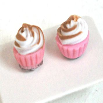 Neapolitan Cupcake Stud Earrings