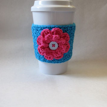 Crochet Flower Coffee Cup Cozy in Blue and by TheEnchantedLadybug