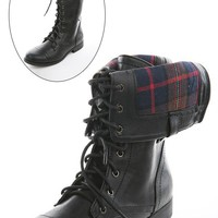 Bumper Freda03x Black Plaid Lining Combat Boots shop Boots at MakeMeChic.com