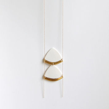 C h i a r a - Feminine long necklace - White porcelain & handpainted fine gold - Modern geometric jewelry - cyber monday