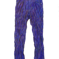 ISSEY MIYAKE!!! Wonderful 'Issey Miyake Men' crinkled jean style pants with colourful woven grid pattern / Made in Japan