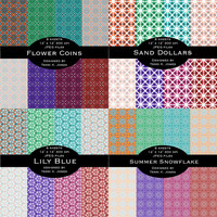 4 pack DEAL! (32 sheets) Digital Printable Scrapbooking Paper Pack, Limited Commerical Use, Repeat Patterns, Geometric, Hexagons, Snowflakes