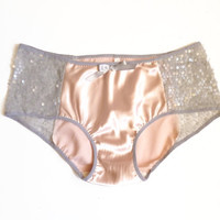 Blush Pink Satin & Grey Sequin Mermaid Cheeky Panties Made to Order