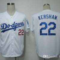 Dodgers #22 Kershaw White size 48-56 Baseball Jerseys , Outdoor Uniforms Sports Jersey Allow