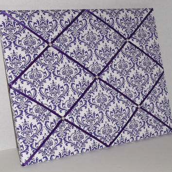 Purple & White Damask Print fabric ~ French Memo Board by ToileChicBoutique