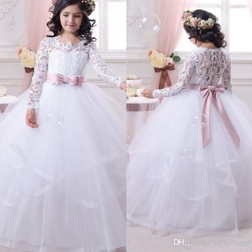 Long Sleeve First Communion Dress for Girls 2017 Lace Ball Gown Flower Girl Dresses White Cheap Pageant Gowns
