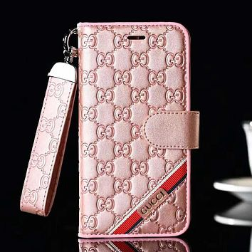 GUCCI Fashion New More Letter Leather Women Men Protective Cover Phone Case